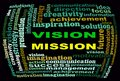Vision mission info text graphics and arrangement concept word clouds on black background Royalty Free Stock Photos