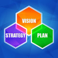 Vision strategy plan in hexagons flat design business growth concept words color over blue background Stock Photos