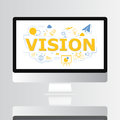 Vision text with icon on computer screen illustration