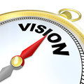 Vision Word on Gold Compass Plan Direction Strategy Stock Image