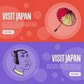 Visit Japan Touristic Vector Web Banners