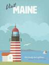 Visit Maine vintage poster with West Quoddy Head lighthouse