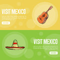 Visit Mexico Touristic Vector Web Banners Royalty Free Stock Photo