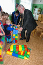A visit by staff at a kindergarten in kaluga region of russia kindergartens often become the object attention administrative Royalty Free Stock Images