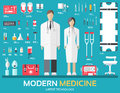 Visit to the doctor. Medicine supplies equipment around medical personnel and staff. Flat health care icons set
