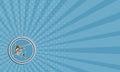 Visitenkarte blau marlin fish jumping circle retro Stockbild