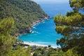 Visiting beautiful kabak bay on aegean sea on turkish coastline, kabak, turkey Royalty Free Stock Photo