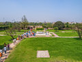 Visiting raj ghat delhi new march tourists and pilgrims memorial to mahatma ghandi on march in new Stock Image
