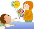 Visiting a sick person woman man who is happy to see her she brings flowers and balloons Stock Photo