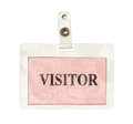 Visitor badge with clipping path isolated on white background Stock Photo