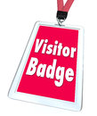 Visitor badge tourist nametag lanyard special temporary access a for limited for a person who is visiting a facility location or Stock Photo