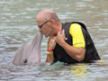 A Visitor to Dolphinaris, Arizona, Gets a Dolphin Kiss Royalty Free Stock Photo