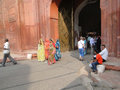 Visitors approach the red fort s main gate old delhi india nov on nov in delhi india Stock Photos