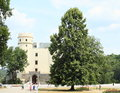 Visitors on castle orlik medieval czech republic with tower and tree Stock Photography