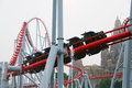Visitors Happy Valley amusement park ride a rollercoaster Royalty Free Stock Photo
