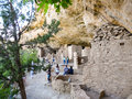 Visitors in mesa verde national park co usa may group of tourists visiting one of abandoned and ruined houses pueblo located Stock Image