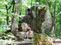Visitors near Devil`s Finger rock in Shapsugskaya Royalty Free Stock Photo