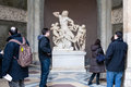 Visitors near Laocoon and His Sons sculpture Royalty Free Stock Photo