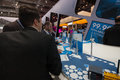 Visitors see booth of Software AG company at CeBIT