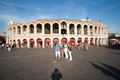 Visitors spectators are taking verona italy august a photo outside the arena di verona in late afternoon on august verona italy Stock Images