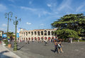 Visitors spectators are walking on verona italy aug piazza bra outside the old arena august in verona italy the arena was built by Royalty Free Stock Photo