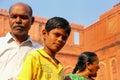 Visitors standing in the courtyard of Jahangiri Mahal in Agra Fort, Uttar Pradesh, India Royalty Free Stock Photo