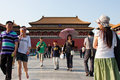Visitors travel in forbidden city Royalty Free Stock Images