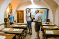 Visitors and young guide in scoala din deal sighisoara the school on the hill josef haltrich from the oldest school transylvania Stock Image