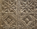 Visogoths pilaster marble carved with geometrical drawings from visogoth closeup over black background Royalty Free Stock Photography