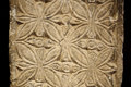 Visogoths pilaster marble carved with geometrical drawings from visogoth closeup over black background Stock Photo