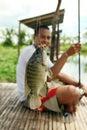 Visserij fishpond Stock Afbeeldingen