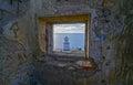 A vista da janela de um farol arruinado velho Imagem de Stock Royalty Free