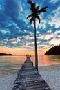 Vista de uma praia com palma e cais no por do sol Foto de Stock Royalty Free