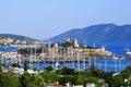 Vista del puerto de bodrum durante día de verano caliente turco riviera Imágenes de archivo libres de regalías