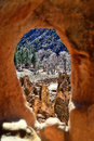 Vista do interior de Cliff Cave Dwelling Fotos de Stock Royalty Free
