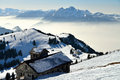 Vista no inverno do cume famoso de rigi switzerland Imagem de Stock