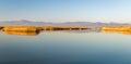 Vistonida lake from lagos in greece landscape view to mountains Stock Photos