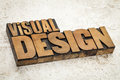 Visual design in wood type text vintage letterpress on a ceramic tile background Stock Photo
