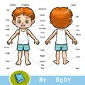 Visual dictionary for children about the human body, the boy Royalty Free Stock Photo