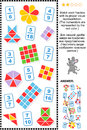 Visual fractions educational math puzzle match each fraction to its proper representation answer included Stock Images