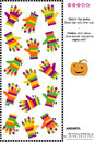 Visual logic puzzle with colorful striped gloves suitable both for kids and adults match the pairs of spot the odd one out answer Stock Photography