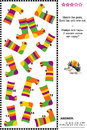 Visual logic puzzle with colorful striped socks suitable both for kids and adults match the pairs of spot the odd one out answer Royalty Free Stock Photos