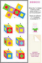 Visual math puzzle with folded cubes Stock Photos