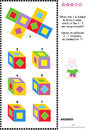 Visual math puzzle with folded cubes educational suitable both for kids and adults when the net is to form a cube which of the can Stock Photo