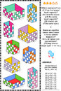 Visual math puzzle or problem, liquid container capacity measuring themed