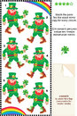 Visual puzzle find the mirrored copy for every picture suitable both kids and adults match pairs exact mirror leprechaun image Royalty Free Stock Photos