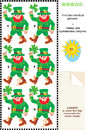 Visual puzzle find two identical images of leprechauns st patrick s day themed pictures answer included Royalty Free Stock Photos
