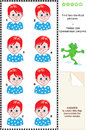 Visual puzzle find two identical images pictures of boys with red hair and blue eyes answer included Stock Images