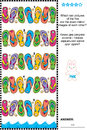 Visual puzzle find two mirrored copies of flip flops rows logic which pictures the five are the exact mirror images each other Stock Photo