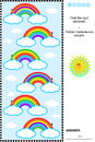 Visual puzzle for kids with rainbows or picture riddle children find the right answer included Royalty Free Stock Photos